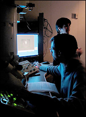 students using a transmission electron microscope